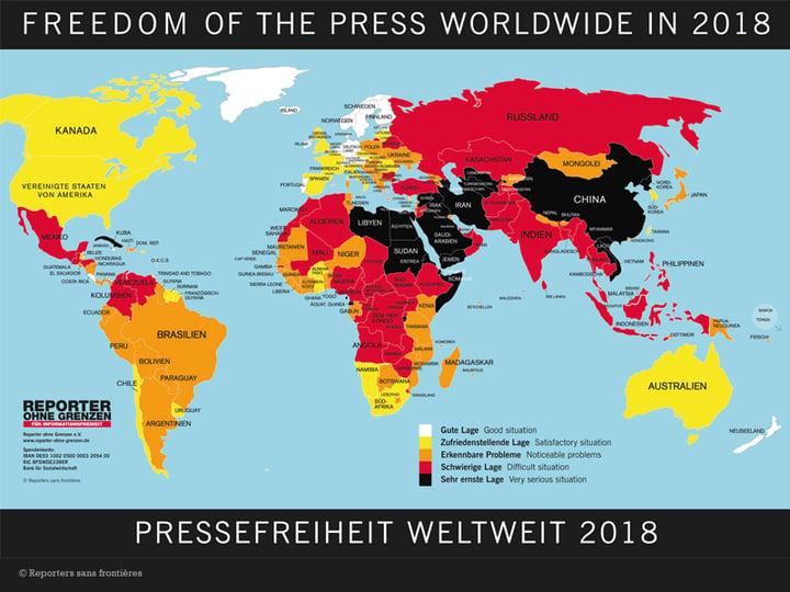 Landkarte der Pressefreiheit 2018: Zu wenig weiße Flecken